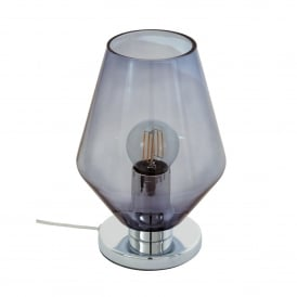 Murmillo Single Light Table Lamp In Polished Chrome And Smoked Glass Finish