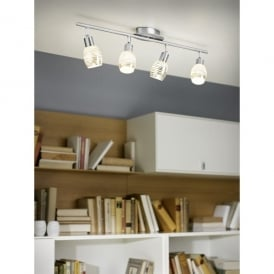 Nabao 4 Light Halogen Ceiling Spotlight In Polished Chrome And White Glass Finish