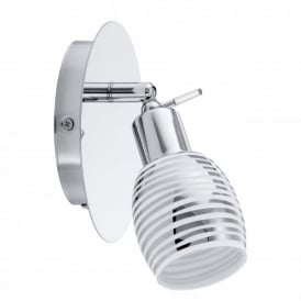 Nabao Single Light Switched Wall Spotlight In Polished Chrome And White Glass Finish