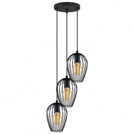 Newtown 3 Light Round Ceiling Pendant in Black Steel Finish