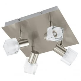 Nocera 4 LED Semi Flush Ceiling Fitting in Satin Nickel Finish with Clear Glass