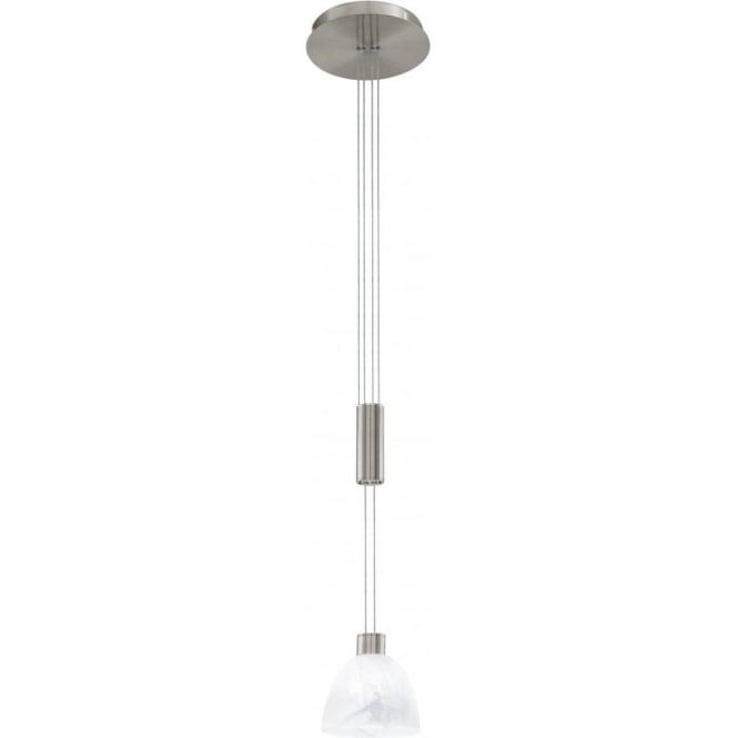 7350fd09727 Oristano Single Light Halogen Rise  amp  Fall Ceiling Pendant in Matt  Nickel Finish
