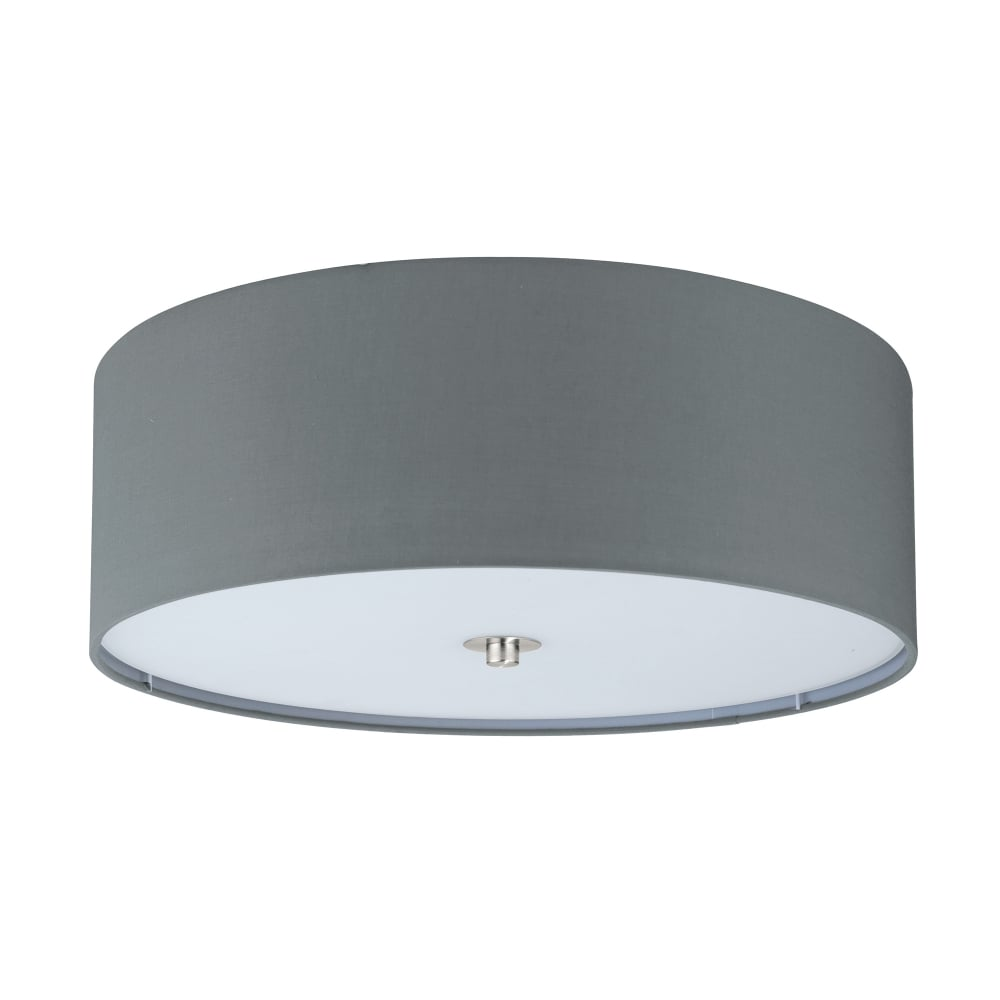 Eglo lighting pasteri flush 3 light ceiling fitting with grey fabric pasteri flush 3 light ceiling fitting with grey fabric shade and white diffuser aloadofball Image collections