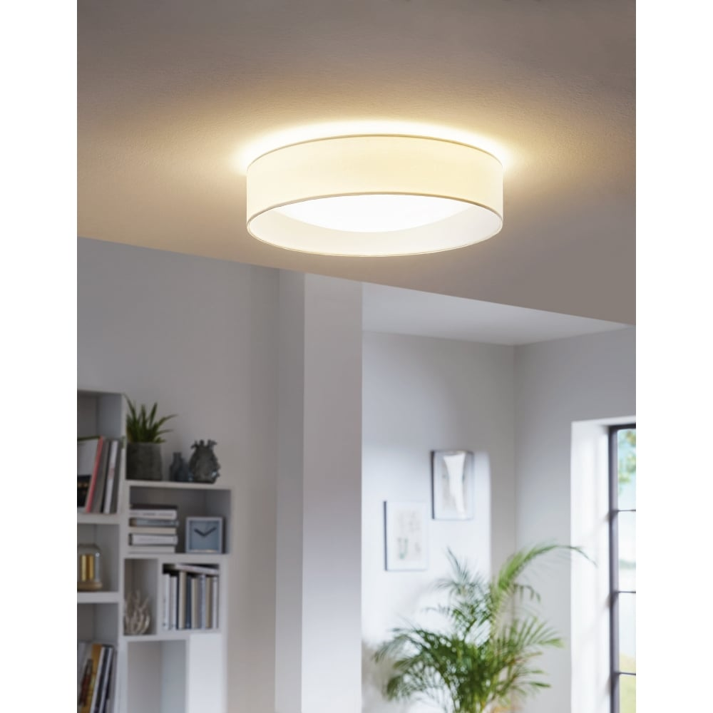 Eglo lighting pasteri led flush ceiling fitting with white fabric pasteri led flush ceiling fitting with white fabric shade with white diffuser aloadofball Image collections