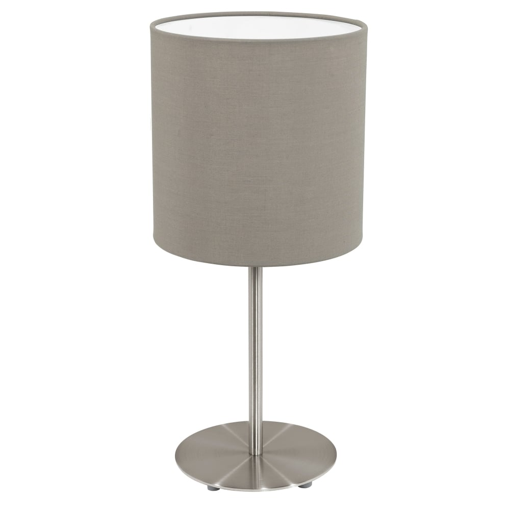 Eglo lighting pasteri single light table lamp in satin nickel finish pasteri single light table lamp in satin nickel finish with taupe fabric shade mozeypictures Image collections
