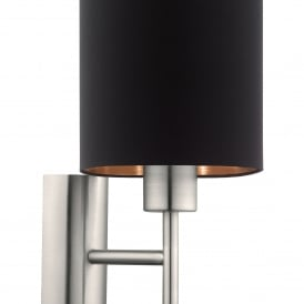 Pasteri Single Light Wall Fitting In Satin Nickel Finish With Black Fabric Shade And Copper Lining