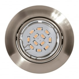Penteo Single Light LED Recessed Ceiling Downlight In Satin Nickel Finish With Adjustable Lamp Head