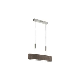 Romao 2 LED Rise And Fall 4 Light Ceiling Pendant With Brown Linen Shade And In Satin Nickel Finish
