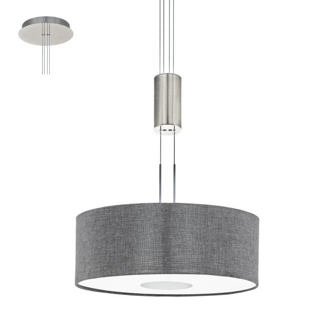 Eglo Lighting Romao Led Rise And Fall Ceiling Pendant In Satin Nickel Finish With Grey Linen