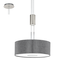 Romao LED Rise And Fall Ceiling Pendant In Satin Nickel Finish With Grey Linen Shade