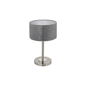 Romao LED Touch Operated Table Lamp In Satin Nickel Finish With Grey Linen Shade