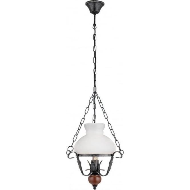 Eglo lighting rustic 7 single light oil lamp style ceiling pendant rustic 7 single light oil lamp style ceiling pendant in black and brown finish with white mozeypictures Images