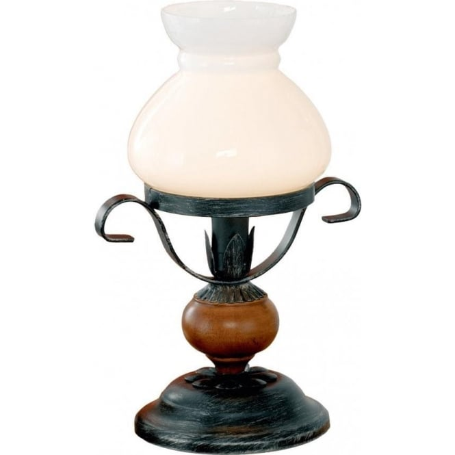 Eglo lighting rustic 7 single light oil lamp style table lamp in rustic 7 single light oil lamp style table lamp in black and brown finish with white aloadofball Image collections