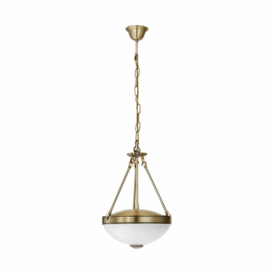 Savoy 2 Light Ceiling Pendant In Bronze Finish With Frosted Glass Shade