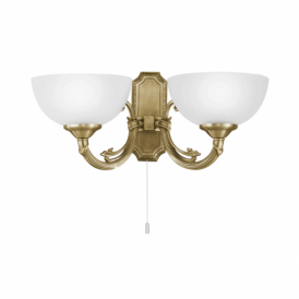 Savoy 2 Light Wall Fitting In Bronze Finish With Frosted Glass Shade