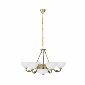 Savoy 8 Light Ceiling Pendant In Bronze Finish With Frosted Glass Shade