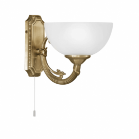 Savoy Single Light Wall Fitting In Bronze Finish With Frosted Glass Shade