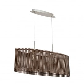 Sendero 2 Light Ceiling Pendant In Satin Nickel Finish With Dark Brown Wood Shade