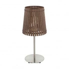 Sendero Single Light Table Lamp In Satin Nickel Finish With Dark Brown Wood Shade