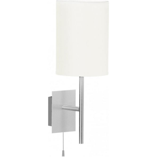 Eglo Lighting Sendo Single Light Wall Fitting In Brushed Aluminium Finish With Beige Fabric Shade