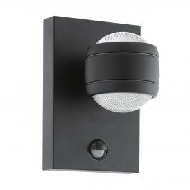 Sesimba 1 LED Outdoor Wall Fitting In Black Finish With PIR Sensor