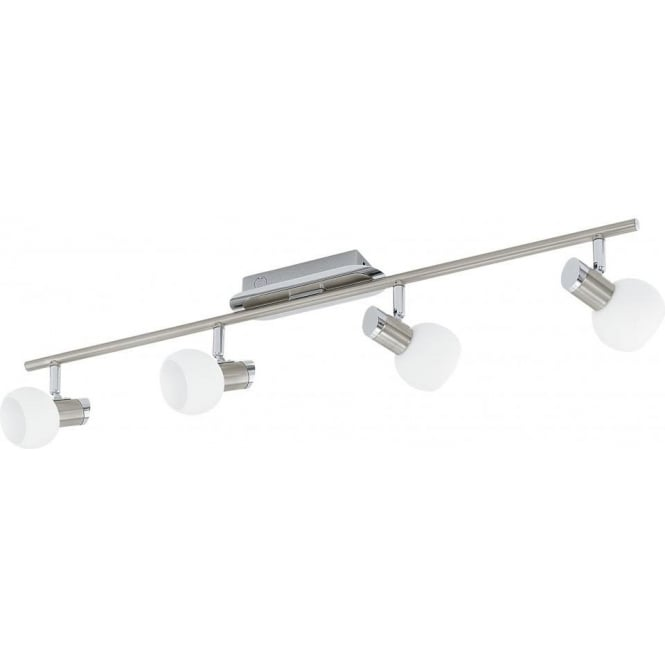 Eglo Lighting Sesto 1 Halogen 4 Light Ceiling Fitting in Satin Nickel Finish With White Glass Shades
