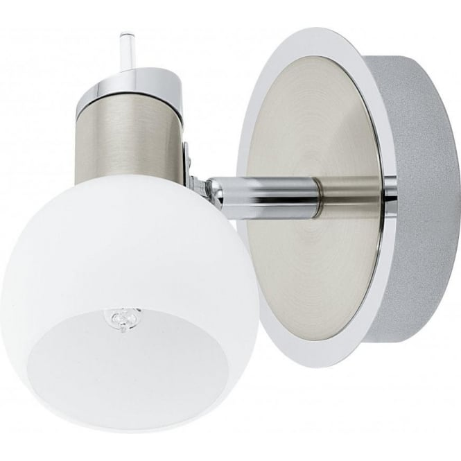 Eglo Lighting Sesto 1 Halogen Single Light Fitting in Satin Nickel Finish With White Glass Shade