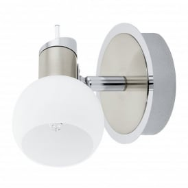 Sesto 1 Halogen Single Light Fitting in Satin Nickel Finish With White Glass Shade