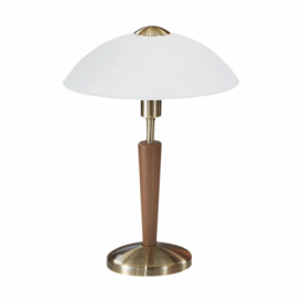 Solo Antique Brass Touch Lamp With White Glass Shade