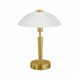Solo Matt Brass Touch Lamp With White Glass Shade