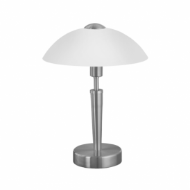 Solo Matt Nickel Touch Lamp With White Glass Shade