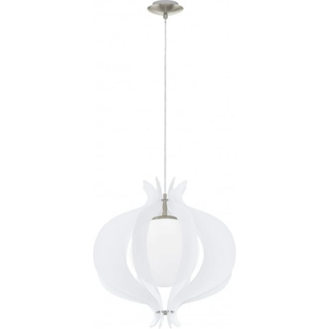 Eglo Lighting Tallego Single Light Ceiling Pendant With White Glass And Satin Nickel Finish
