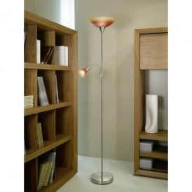 Up 4 Dual Light Floor Lamp In Satin Nickel Finish With Red And Orange Shade