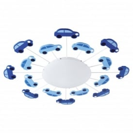 Viki Single Light Flush Ceiling Fitting with Blue Car Detail