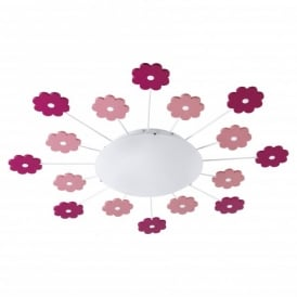 Viki Single Light Wall Or Ceiling Fitting with Pink Floral Decoration