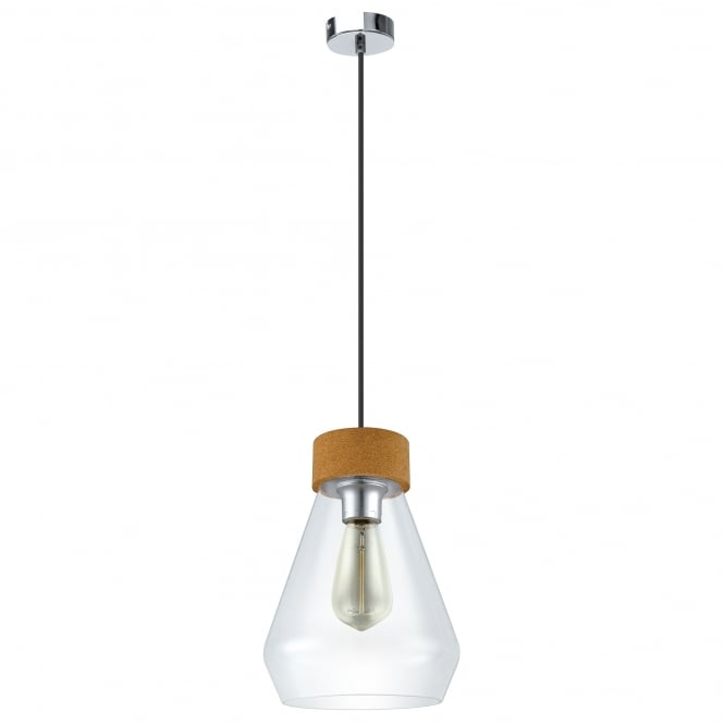 Eglo Lighting Vintage Brixham Single Light Ceiling Pendant In Chrome Finish