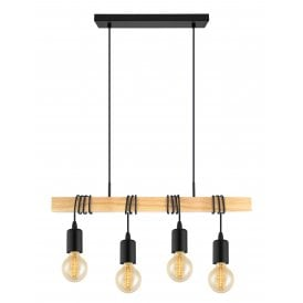 32916 Townshend 4 Light Ceiling Bar Pendant in Black and Natural Wood Finish