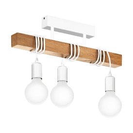 33166 Townshend 3 Light Ceiling Bar Fitting in White Steel and Natural Wood Finish