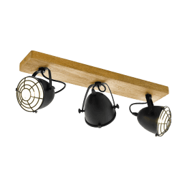 49078 Gatebeck 3 Light Ceiling Spot in Natural Wood and Black Steel Finish
