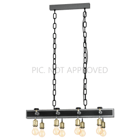 49099 Goldcliff 8 Light Ceiling Pendant in Black Steel and Antique Silver Finish with Bronze Accents