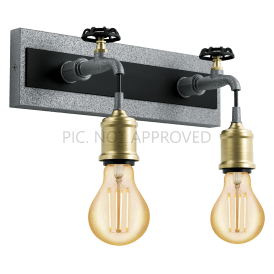 49102 Goldcliff 2 Light Wall Fitting in Black Steel and Antique Silver Finish with Bronze Lamp Holder