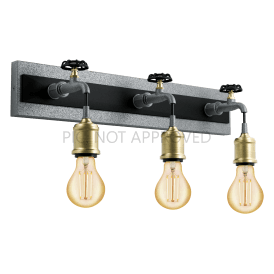 49103 Goldcliff 3 Light Wall Fitting in Black Steel and Antique Silver Finish with Bronze Lamp Holder