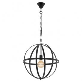 49516 Barnaby Single Light Ceiling Pendant In Black Steel Finish