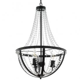 49539 Barnaby 1, 3 Light Ceiling Fitting in Black Steel and Crystal Finish
