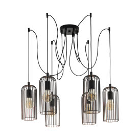49643 Roccamena 6 Light Ceiling Pendant in Black Steel and Copper Finish