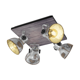 49653 Barnstaple 4 Light Ceiling Spot in Wood, Brown and Zinc Effect Finish