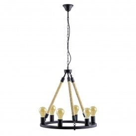 49694 Findlay 6 Light Ceiling Pendant In Black Steel finish With Rope Detail