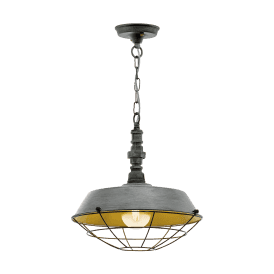 49706 Chepstow Single Light Ceiling Pendant in Antique Silver Finish