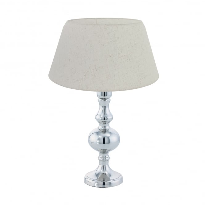 Eglo Vintage Bedworth Single Light Table Lamp in Polished Chrome Finish with Cream Fabric Shade