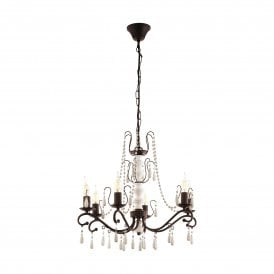 Chattisham 6 Light Ceiling Pendant In Dark Brown Wood Finish With White Beading Detail